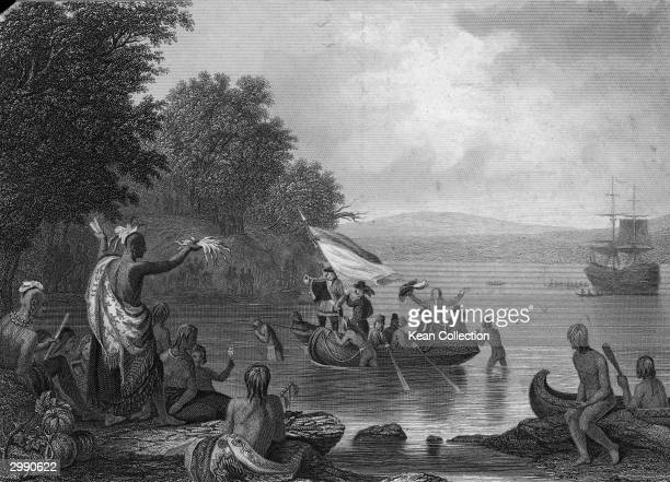 Engraved illustration of English explorer Henry Hudson's sailboat arriving in the Hudson River surrounded by boats circa 17th Century