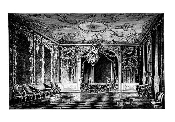 Engraved illustration of Frederick the Great's bedroom, King of Prussia Elector of Brandenburg