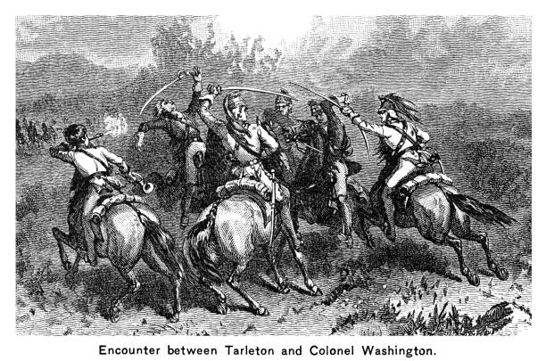 Engraved illustration of the Battle of Cowpens, Encounter between British Colonel Banastre Tarleton and Colonel William Washington