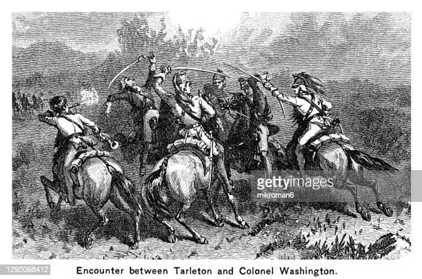 engraved illustration of the battle of cowpens, encounter between british colonel banastre tarleton and colonel william washington - the royal photographic society stock pictures, royalty-free photos & images