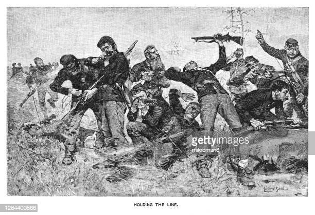 engraved illustration of the battle of stones river second battle of murfreesboro - war and conflict stock pictures, royalty-free photos & images