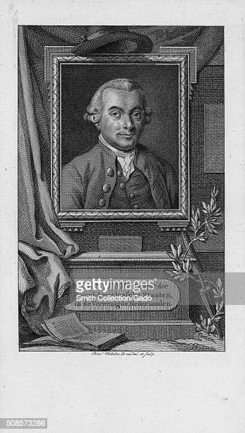 Engraved image of a portrait of John Adams at the center of a memorial in his honor decorated with flowers a book and a hat above the portrait text...
