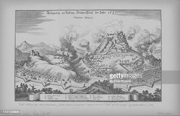 Engraved landscape illustration of a scene at the Siege of Hohentwiel, depicting battle strategy and positions, near Stuttgart, or Wurttemberg,...