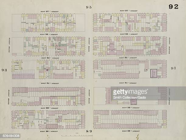 Engraved map image from an atlas with original caption reading 'Plate 92 Map bounded by West 37th Street Eighth Avenue West 32nd Street Tenth Avenue'...