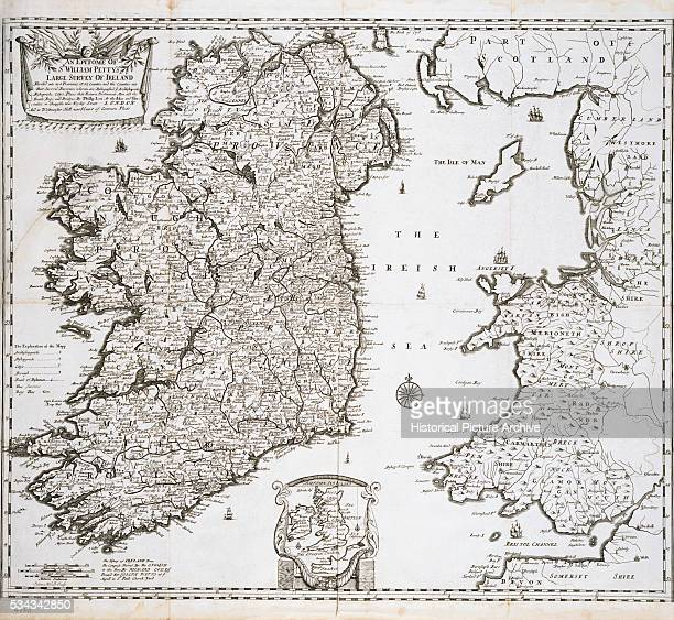 Engraved Map of Ireland by Sutton Nicholls