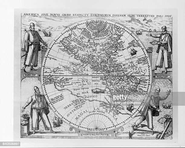 A engraved map of the Americas with portraits of Christopher Columbus Amerigo Vespucci Ferdinand Magellan and Francisco Pizarro by Theodor de Bry...