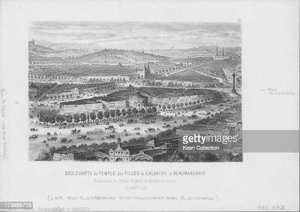 Engraved panoramic view of the boulevards of Paris including Boulevarts Temple Filles and Beaumarchais Paris circa 18001850