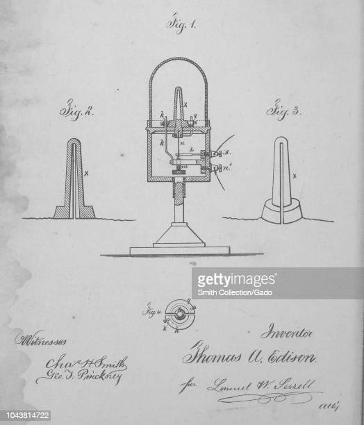 Engraved patent 'Improvement in Electric Lights' by Thomas A Edison, from the book 'Collection of United States patents granted to Thomas A. Edison',...