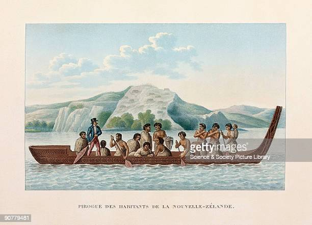 Engraved plate 45 from 'Voyage autour du monde' by Louis Isidore Duperrey Maoris one of whom is wearing European dress paddling a canoe Duperrey a...