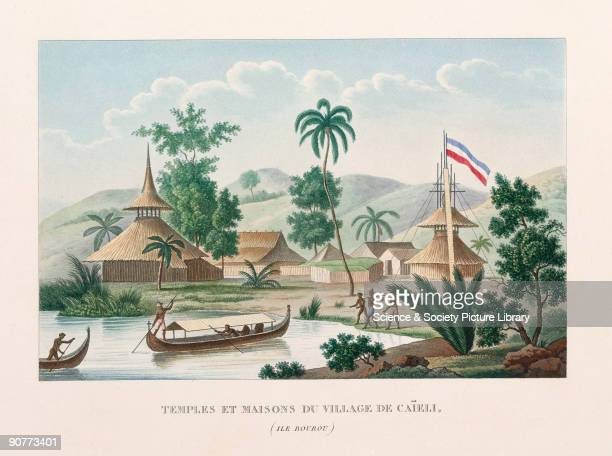 Engraved plate from 'Voyage autour du monde' by Louis Isidore Duperrey . The engraving shows a scene on the island of Buru which is now part of...