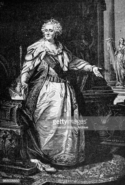 Engraved portrait depicting Catherine the Great former Emperor of All of Russia Dated 18th Century