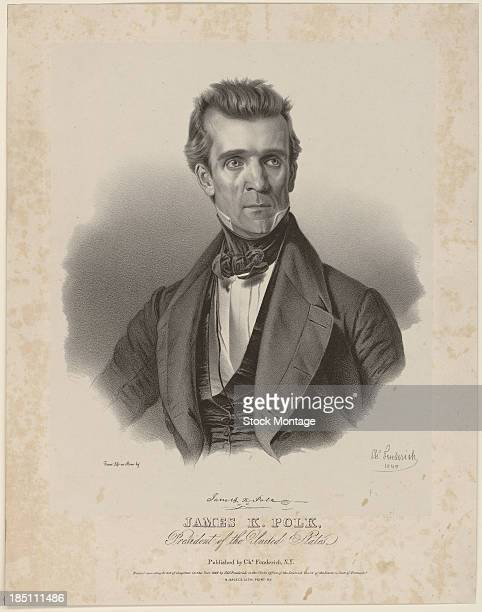 Engraved portrait depicts American politician and US President James K Polk 1845