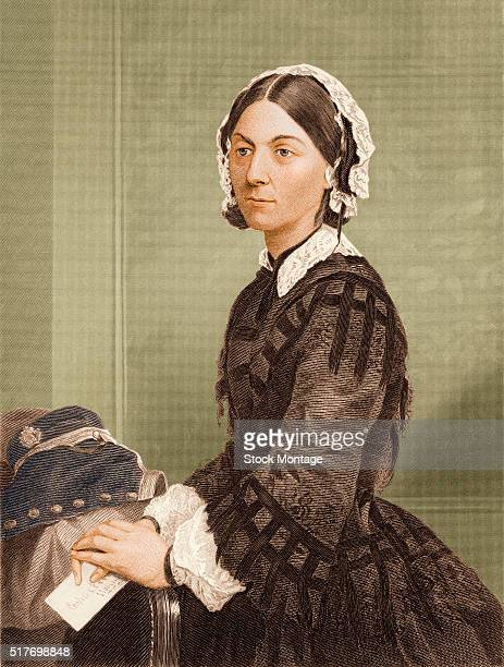 Engraved portrait depicts English social reformer and nursing pioneer Florence Nightingale mid to late 19th century