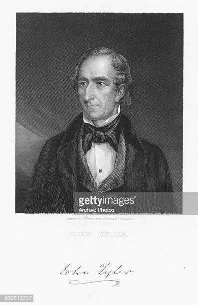 Engraved portrait of 10th US President John Tyler with his signature circa 1850 Engraved by J B Forrest from the original by J R Lambdin
