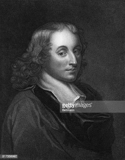 Engraved portrait of 17th century French mathematician and physicist Blaise Pascal Undated illustration