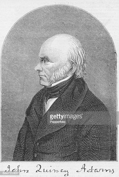 Engraved portrait of 6th President of the United States John Quincy Adams with his signature circa 1827