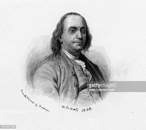 Engraved portrait of a younger Benjamin Franklin by HB Hall 1868 From the New York Public Library