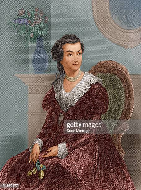 Engraved portrait of Abigail Smith Adams late 1700s She was the wife of the second American president John Adams and the mother of John Quincy Adams...