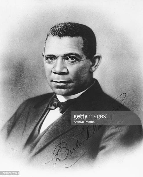 Engraved portrait of African American author and educator Booker T Washington with his signature circa 1900
