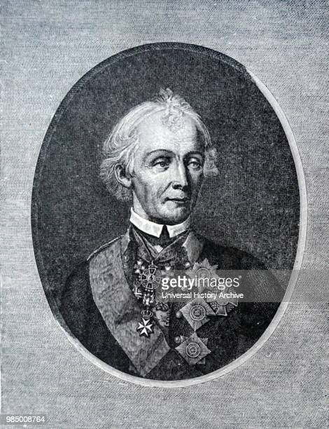 Engraved portrait of Alexander Suvorov a Russian military leader and national hero Dated 18th Century