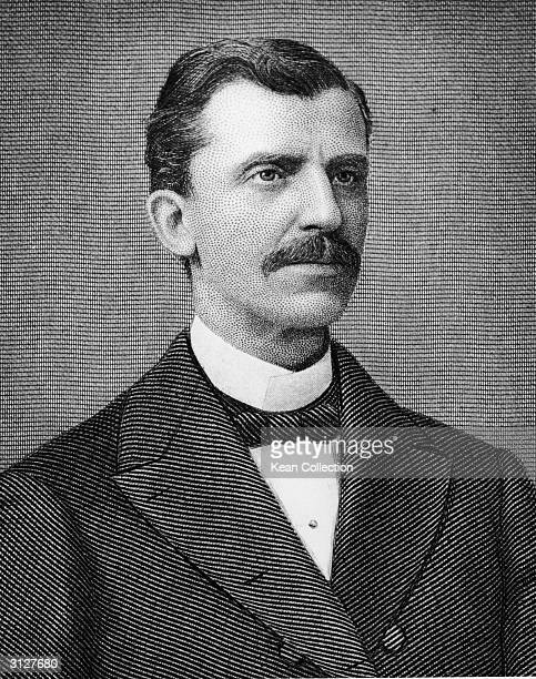 Engraved portrait of American Baptist minister and lecturer Russell Herman Conwell the founder in 1884 of Temple University 1880s