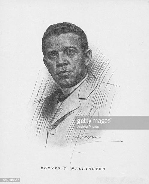 Engraved portrait of African American educator and author Booker T Washington circa 1900