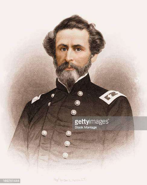 Engraved portrait of American explorer military officer and politician John Charles Fremont mid 19th century Responsible for mapping the Oregon Trail...