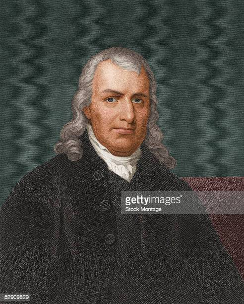 Engraved portrait of American jurist delegate to the Continental Congress and Signer of the Declaration of Independence Samuel Chase early 19th...