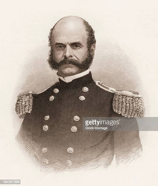 Engraved portrait of American military commander and politician General Ambrose Everest Burnside , mid 19th century. The style of facial hair he...