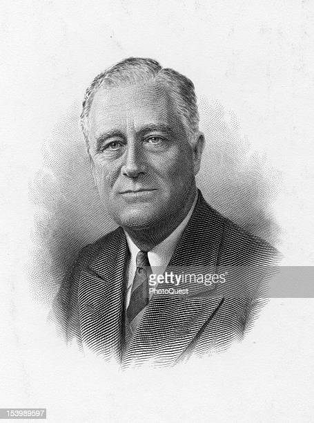 Engraved portrait of American politician and US President Franklin D Roosevelt 1930s