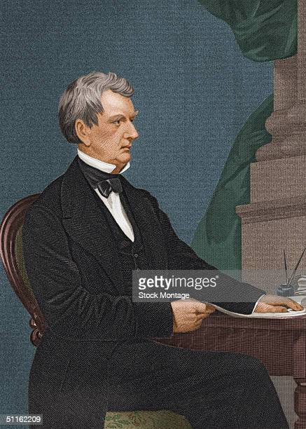 Engraved portrait of American politician William Henry Seward mid 1800s During his term as US Secretary of State he negotiated the purchase of Alaska...