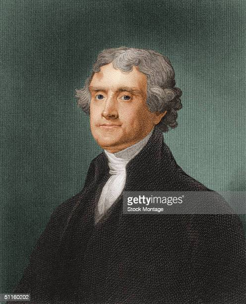Engraved portrait of American President Thomas Jefferson early 1800s Jefferson served as the third president of the United States from 1801 unitl 1809
