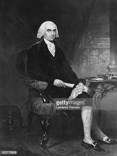 Engraved portrait of American statesman James Madison seated at a writing desk circa 1800