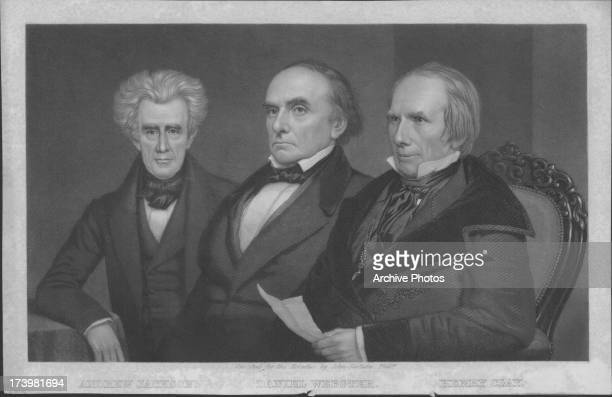 Engraved portrait of Andrew Jackson Daniel Webster and Henry Clay dominant figures in the US Senate engraved by John Sartain circa 17771852