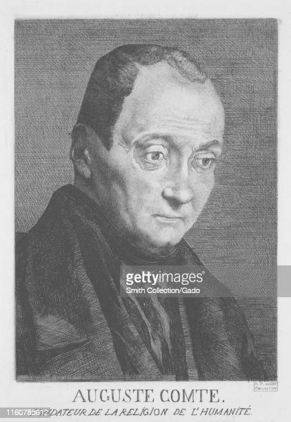 Engraved portrait of Auguste Comte a French philosopher and writer from Montpellier illustrated by Felix Henri Bracquemond 1851