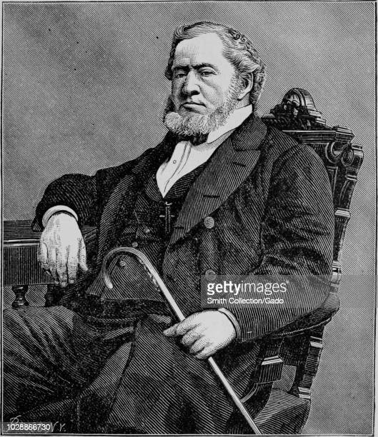 """Engraved portrait of Brigham Young, founder of the University of Utah and Brigham Young University, from the book """"Crofutt's new overland tourist and..."""