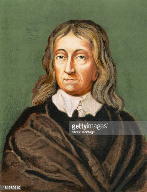Engraved portrait of British poet and politician John Milton mid 17th century His influential epic poem 'Paradise Lost' was first published in 1667