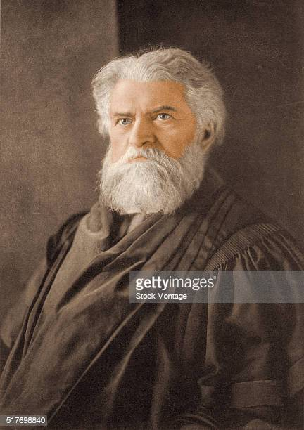 Engraved portrait of Canadianborn American astronomer and mathematician Simon Newcomb late 19th or early 20th century