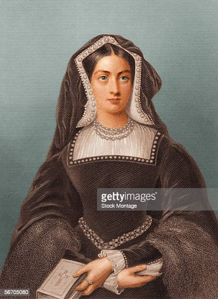 Engraved portrait of Catherine of Aragon the first queen of Henry VIII of England She holds a bible in one hand