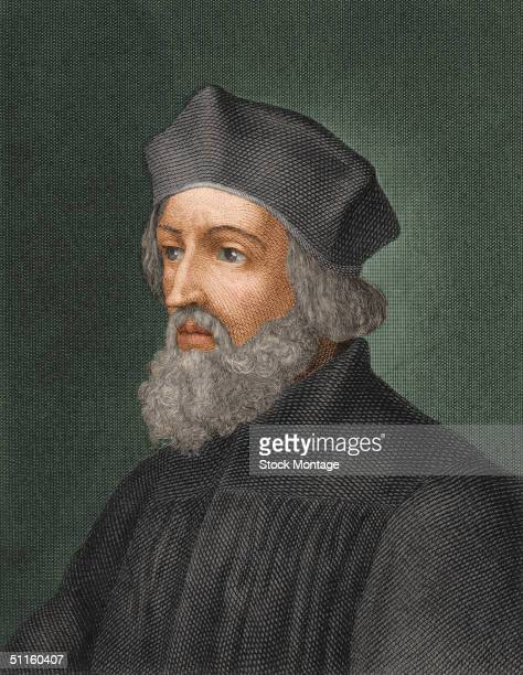 Engraved portrait of Czech religious leader Jan Hus He lead a reform movement in Bohemia against Roman Catholic Church was convicted of heresy and...