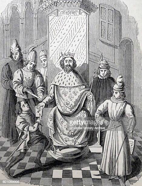 Engraved portrait of Edward the Black Prince first Duke of Cornwall the Prince of Wales and the Prince of Aquitaine Dated 14th Century