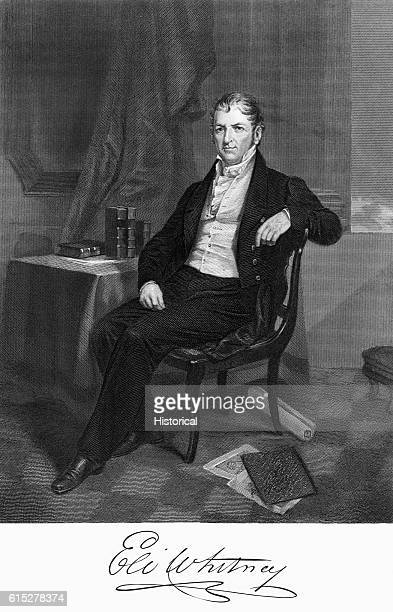 Engraved portrait of Eli Whitney inventor of the cotton gin and developer of the use of interchangeable parts in the production of arms