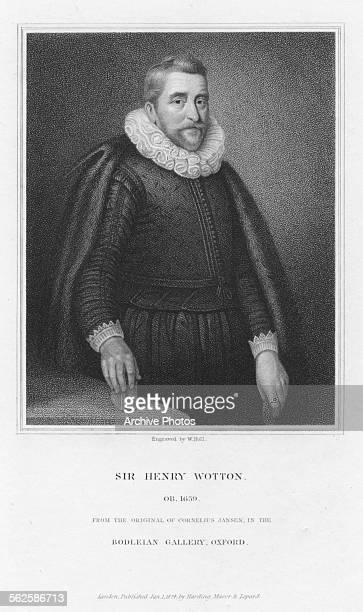 Engraved portrait of English author Sir Henry Wotton circa 1600 Engraved by W Holl