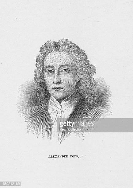 Engraved portrait of English poet Alexander Pope circa 1720