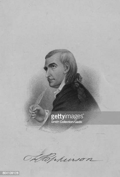 Engraved portrait of Francis Hopkinson delegate to the Continental Congress signer of the Declaration of Independence and designer of the first...