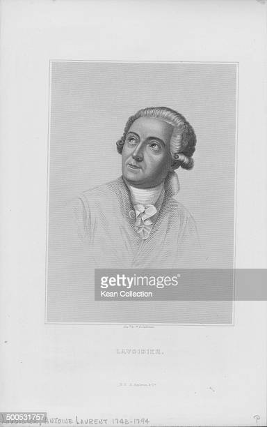 Engraved portrait of French chemist Antoine Laurent Lavoisier circa 17701794 Engraved by W G Jackman