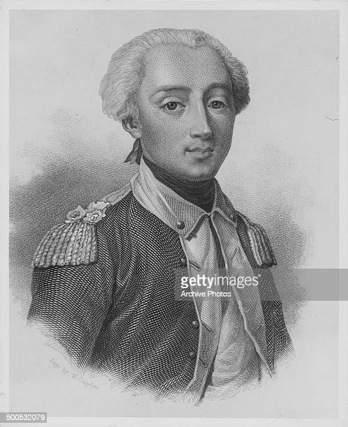 Engraved portrait of French Major General the Marquis de Lafayette circa 1800 Engraved by H Gugeler