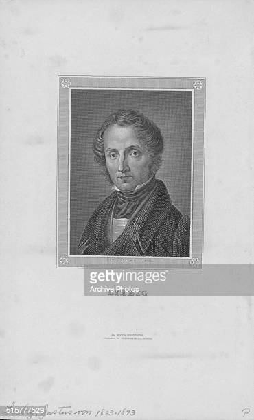 Engraved portrait of German chemist Justus von Liebig circa 1850