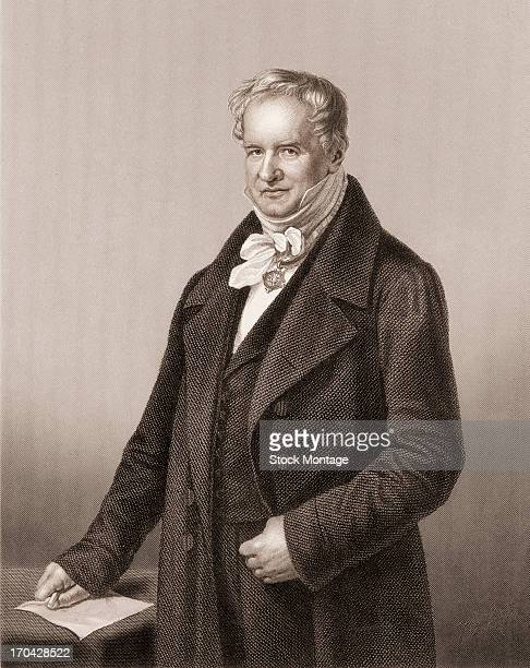 Engraved portrait of German naturalist and explorer Alexander von Humboldt early to mid 19th century