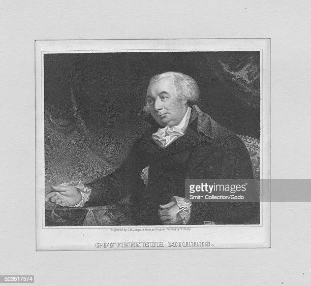 Engraved portrait of Gouverneur Morris a Founding Father of the United States and a native of New York City who represented Pennsylvania in the...